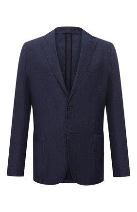 Мужской льняной пиджак ERMENEGILDO ZEGNA темно-синего цвета, арт. UUC73/SLR | Фото 1