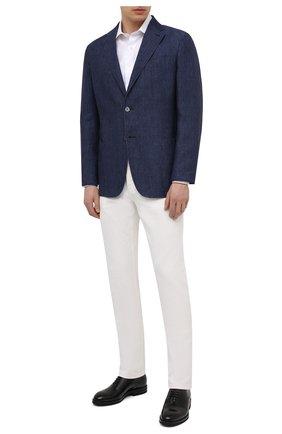 Мужской льняной пиджак ERMENEGILDO ZEGNA темно-синего цвета, арт. UUC73/SLR | Фото 2
