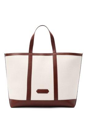 Мужская текстильная сумка-тоут TOM FORD белого цвета, арт. H0467T-TCN015 | Фото 1 (Материал: Текстиль, Натуральная кожа)