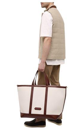 Мужская текстильная сумка-тоут TOM FORD белого цвета, арт. H0467T-TCN015 | Фото 2 (Материал: Текстиль, Натуральная кожа)
