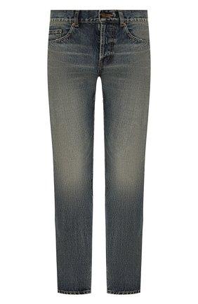 Мужские джинсы SAINT LAURENT синего цвета, арт. 597052/Y502V | Фото 1 (Материал внешний: Хлопок, Деним; Длина (брюки, джинсы): Стандартные; Детали: Потертости; Кросс-КТ: Деним; Силуэт М (брюки): Прямые; Стили: Кэжуэл)