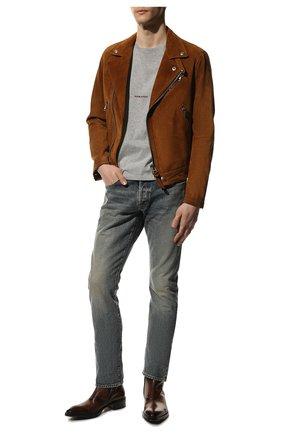 Мужские джинсы SAINT LAURENT синего цвета, арт. 597052/Y502V | Фото 2 (Материал внешний: Хлопок, Деним; Длина (брюки, джинсы): Стандартные; Детали: Потертости; Кросс-КТ: Деним; Силуэт М (брюки): Прямые; Стили: Кэжуэл)