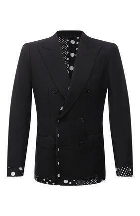 Мужской пиджак из шерсти и шелка DOLCE & GABBANA черного цвета, арт. G2PL1T/FU3LS | Фото 1