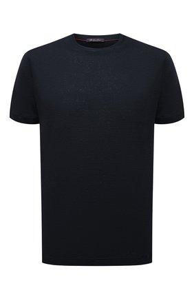 Мужская льняная футболка LORO PIANA темно-синего цвета, арт. FAL5748 | Фото 1