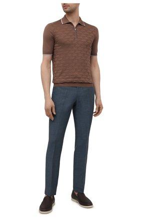 Мужские брюки изо льна и шерсти LUCIANO BARBERA синего цвета, арт. 104126/45086 | Фото 2