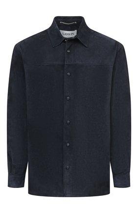 Мужская замшевая рубашка LANVIN темно-синего цвета, арт. RM-JA0014-L006-E21   Фото 1
