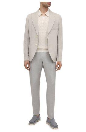 Мужские брюки из шерсти и льна ERMENEGILDO ZEGNA светло-серого цвета, арт. 918F00/75FA12 | Фото 2