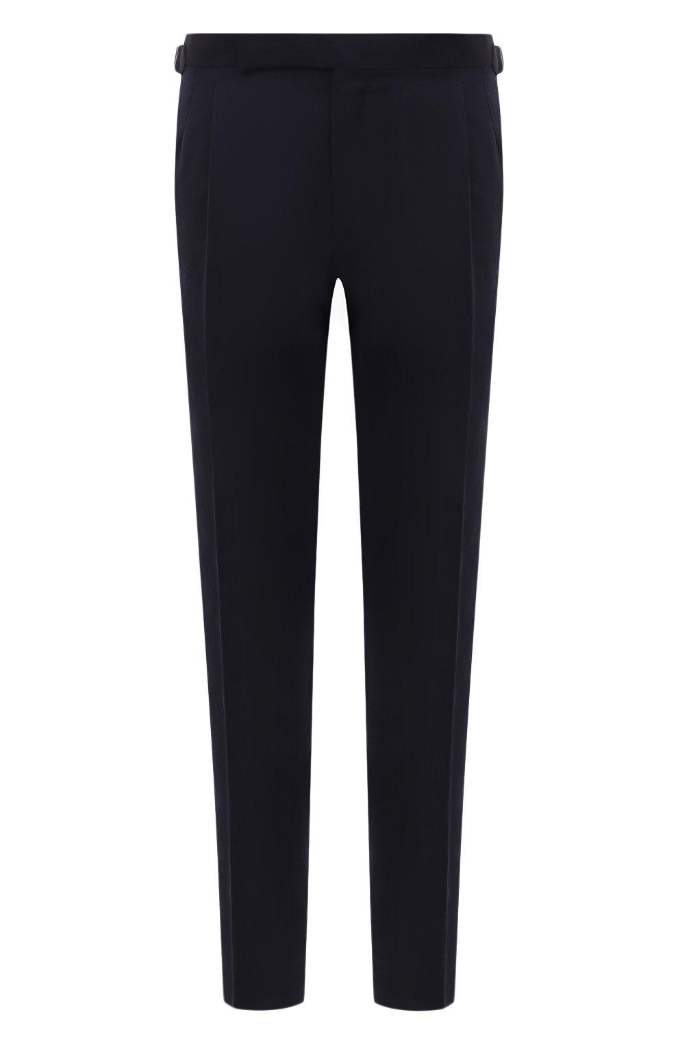 Мужские брюки из шерсти и льна ERMENEGILDO ZEGNA темно-синего цвета, арт. 918F05/75FA12 | Фото 1