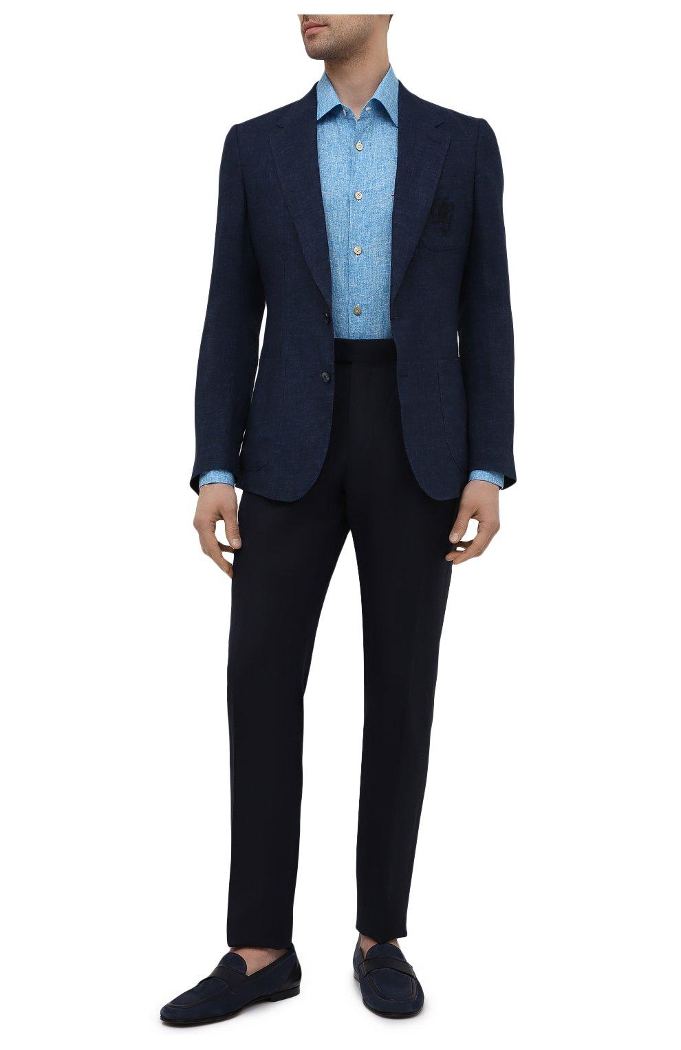 Мужские брюки из шерсти и льна ERMENEGILDO ZEGNA темно-синего цвета, арт. 918F05/75FA12 | Фото 2
