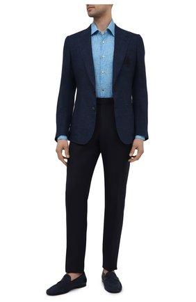 Мужские брюки из шерсти и льна ERMENEGILDO ZEGNA темно-синего цвета, арт. 918F05/75FA12 | Фото 2 (Материал подклада: Вискоза; Материал внешний: Шерсть, Лен; Длина (брюки, джинсы): Стандартные; Случай: Формальный; Стили: Классический)