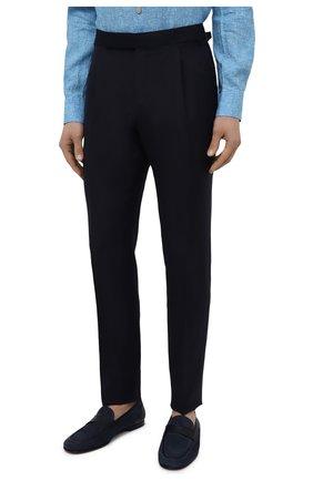 Мужские брюки из шерсти и льна ERMENEGILDO ZEGNA темно-синего цвета, арт. 918F05/75FA12 | Фото 3