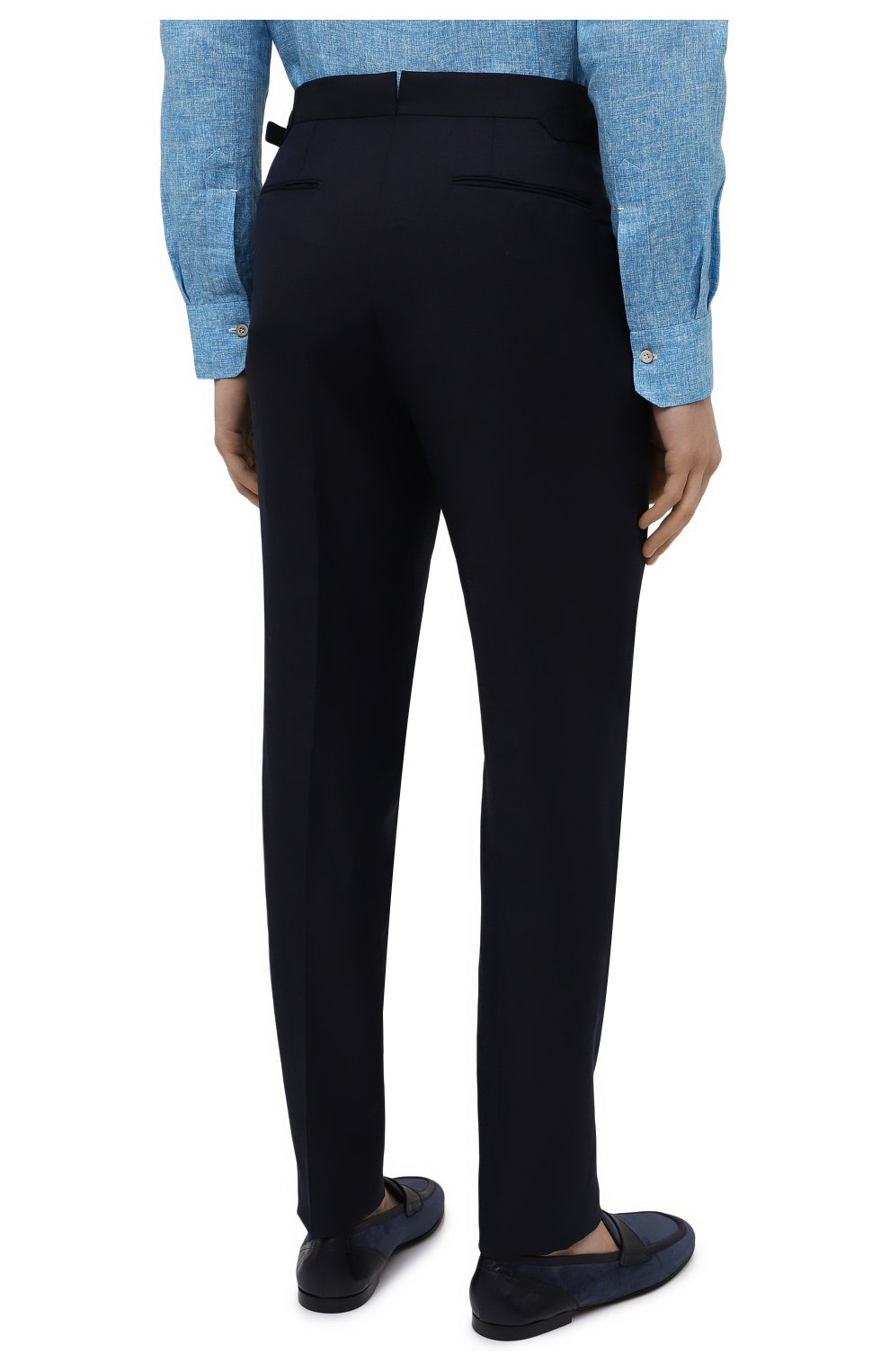 Мужские брюки из шерсти и льна ERMENEGILDO ZEGNA темно-синего цвета, арт. 918F05/75FA12 | Фото 4