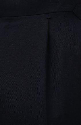 Мужские брюки из шерсти и льна ERMENEGILDO ZEGNA темно-синего цвета, арт. 918F05/75FA12 | Фото 5