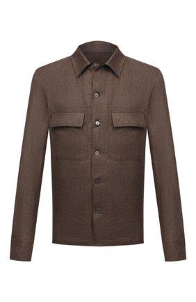 Мужская льняная рубашка ERMENEGILDO ZEGNA коричневого цвета, арт. UWX34/S0T2   Фото 1