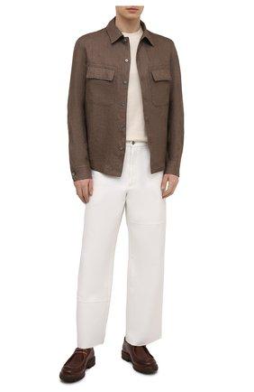 Мужская льняная рубашка ERMENEGILDO ZEGNA коричневого цвета, арт. UWX34/S0T2   Фото 2