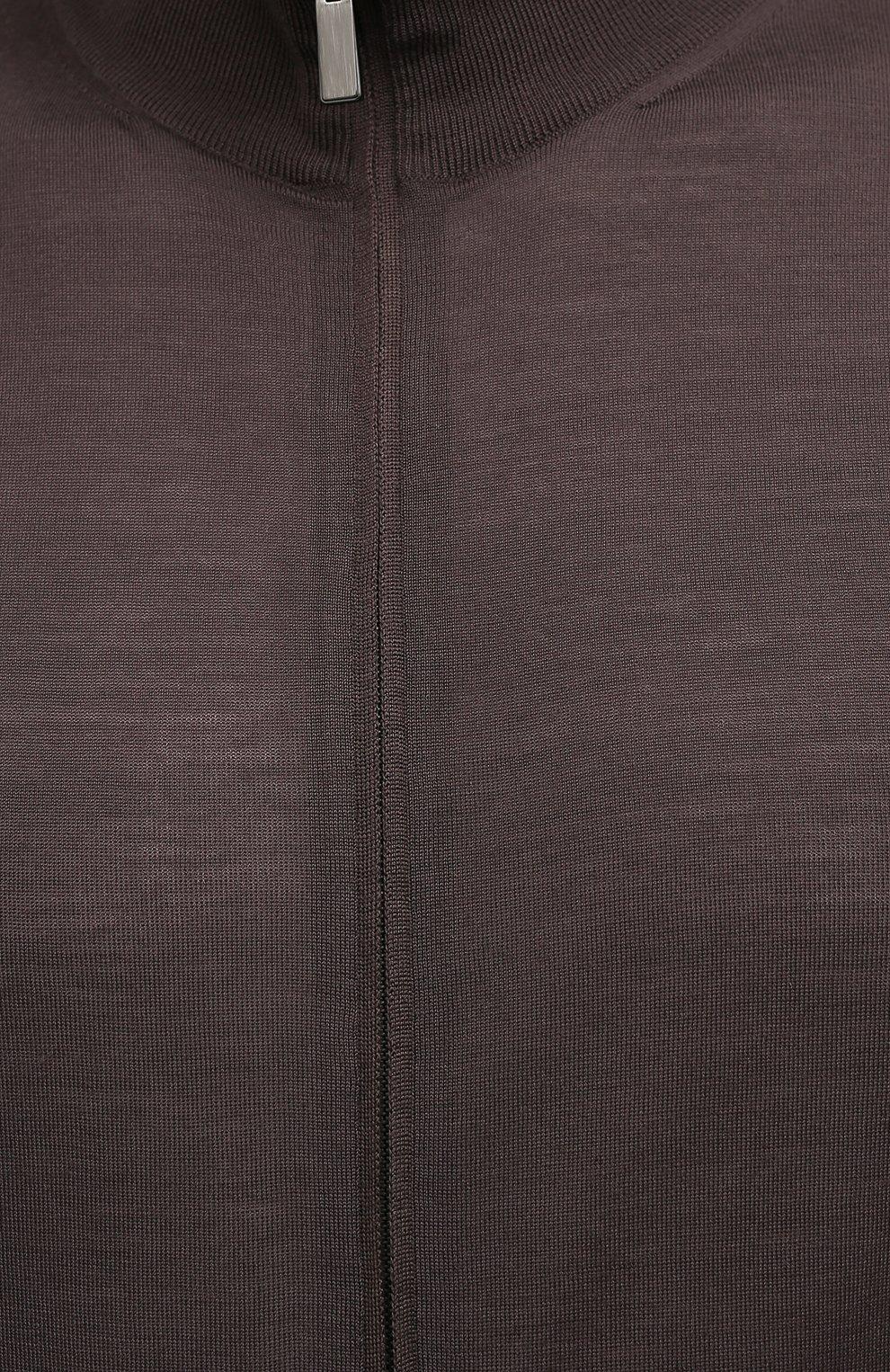 Мужской шерстяной кардиган ERMENEGILDO ZEGNA коричневого цвета, арт. UWM00/157 | Фото 5