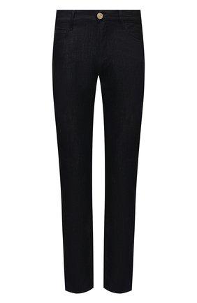Мужские джинсы GIORGIO ARMANI темно-синего цвета, арт. 3KSJ15/SD0IZ | Фото 1 (Материал внешний: Лен, Хлопок; Длина (брюки, джинсы): Стандартные; Стили: Кэжуэл; Силуэт М (брюки): Прямые; Кросс-КТ: Деним)