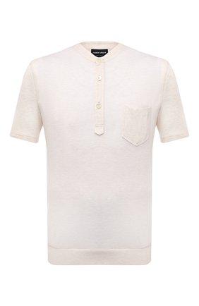 Мужская футболка из вискозы GIORGIO ARMANI белого цвета, арт. 3KSF50/SJYBZ | Фото 1 (Материал внешний: Вискоза; Рукава: Короткие; Длина (для топов): Стандартные; Принт: Без принта; Стили: Кэжуэл)