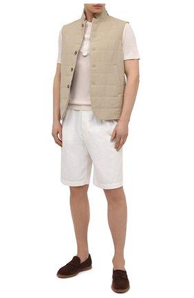 Мужская футболка из вискозы GIORGIO ARMANI белого цвета, арт. 3KSF50/SJYBZ | Фото 2 (Материал внешний: Вискоза; Рукава: Короткие; Длина (для топов): Стандартные; Принт: Без принта; Стили: Кэжуэл)