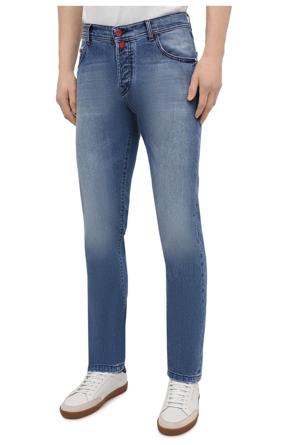 Мужские джинсы KITON голубого цвета, арт. UPNJS/J07T25 | Фото 3