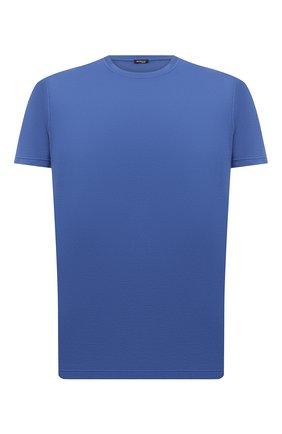 Мужская футболка из хлопка и кашемира KITON синего цвета, арт. UMK0029   Фото 1