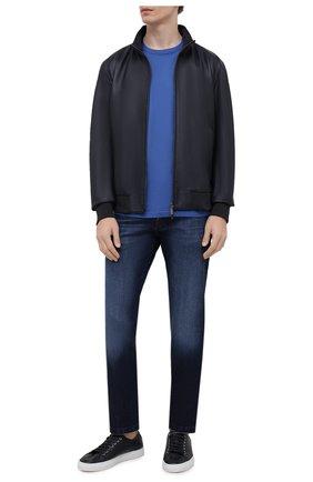 Мужская футболка из хлопка и кашемира KITON синего цвета, арт. UMK0029   Фото 2