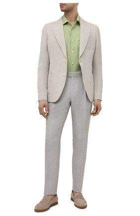 Мужская льняная рубашка KITON зеленого цвета, арт. UMCNERH0768505 | Фото 2