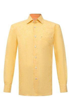Мужская льняная рубашка KITON желтого цвета, арт. UMCNERH0768503 | Фото 1
