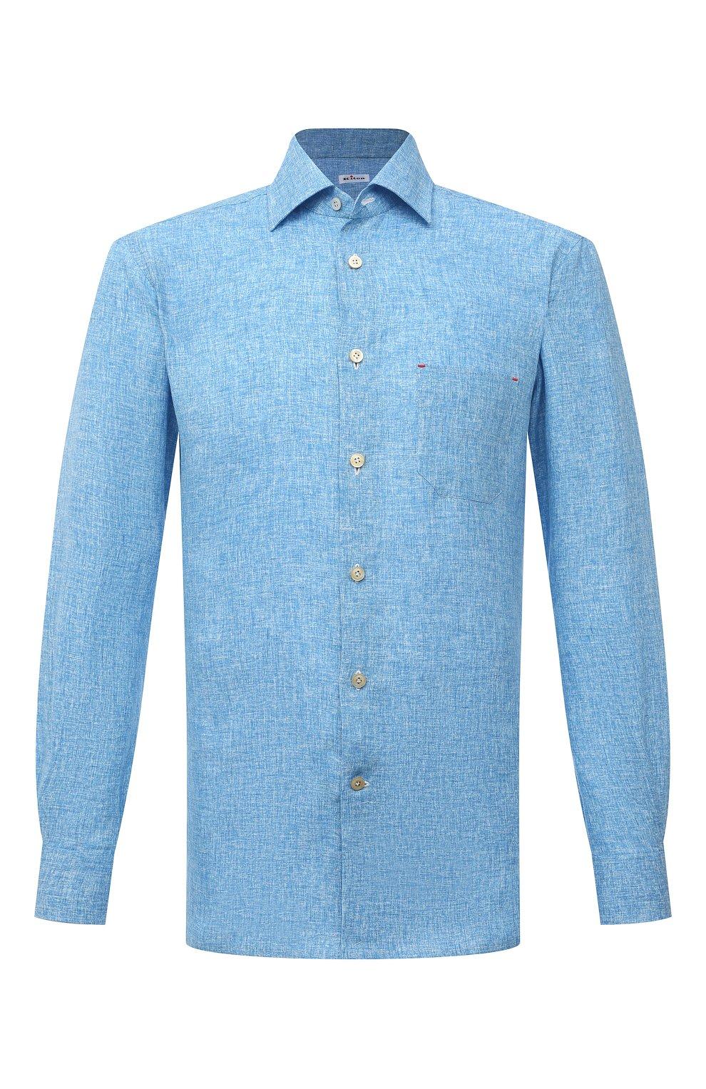 Мужская льняная рубашка KITON голубого цвета, арт. UMCNERH0768502 | Фото 1