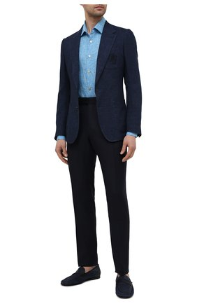 Мужская льняная рубашка KITON голубого цвета, арт. UMCNERH0768502 | Фото 2