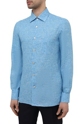 Мужская льняная рубашка KITON голубого цвета, арт. UMCNERH0768502 | Фото 3
