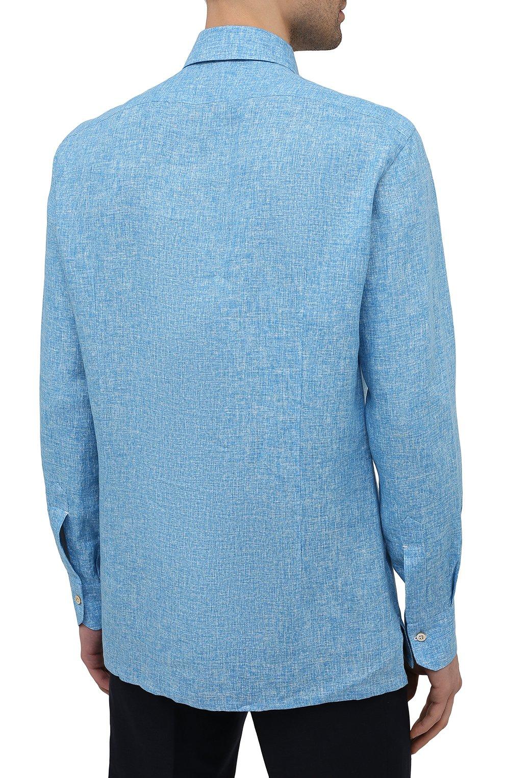 Мужская льняная рубашка KITON голубого цвета, арт. UMCNERH0768502 | Фото 4