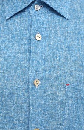 Мужская льняная рубашка KITON голубого цвета, арт. UMCNERH0768502 | Фото 5