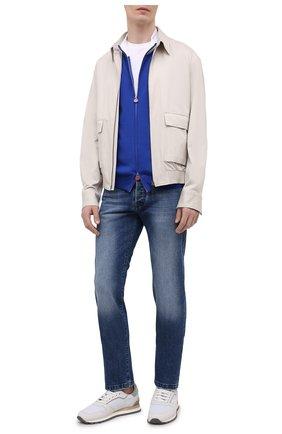 Мужской хлопковый кардиган KITON синего цвета, арт. UK1158 | Фото 2