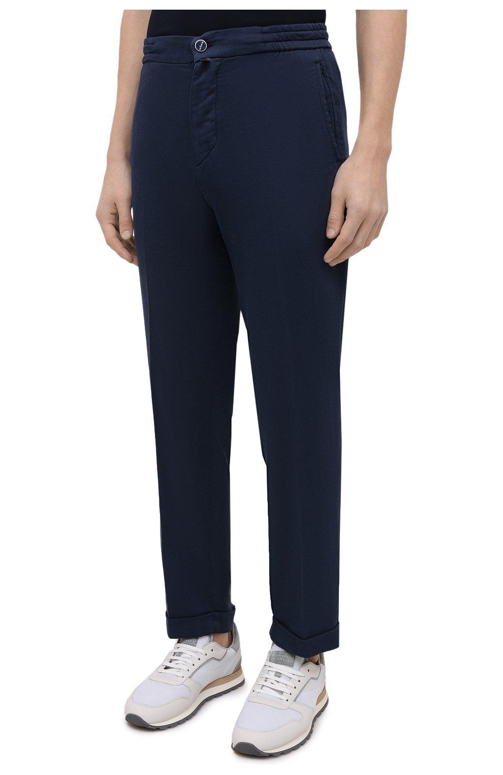 Мужские брюки KITON темно-синего цвета, арт. UFPLACJ06T91   Фото 3