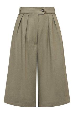Женские шорты LESYANEBO серого цвета, арт. SS21/Н-469/L_2 | Фото 1 (Материал внешний: Хлопок, Лен; Стили: Кэжуэл; Женское Кросс-КТ: Шорты-одежда; Кросс-КТ: Широкие; Длина Ж (юбки, платья, шорты): До колена)
