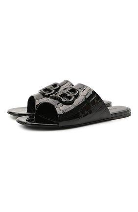 Женские кожаные шлепанцы oval BALENCIAGA черного цвета, арт. 629537/WBBQ2   Фото 1