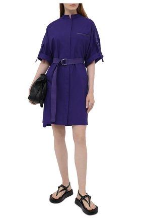 Женское хлопковое платье YVES SALOMON фиолетового цвета, арт. 20EYR03996C0XW   Фото 2