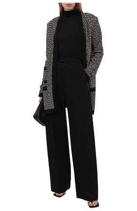 Женский кардиган из шерсти и льна BALMAIN черно-белого цвета, арт. VF0KN000/K256 | Фото 2
