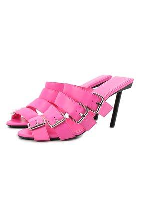 Женские кожаные мюли bluckle BALENCIAGA розового цвета, арт. 643144/WA8FE   Фото 1