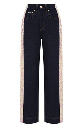 Женские джинсы DOLCE & GABBANA темно-синего цвета, арт. FTB1FT/GDX71   Фото 1 (Материал внешний: Хлопок, Синтетический материал, Деним; Стили: Гламурный; Кросс-КТ: Деним; Силуэт Ж (брюки и джинсы): Широкие; Длина (брюки, джинсы): Укороченные)