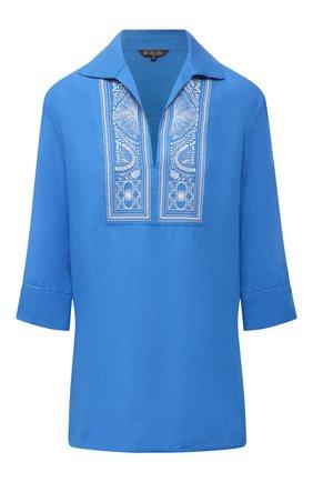 Женская льняная блузка LORO PIANA синего цвета, арт. FAL5867 | Фото 1