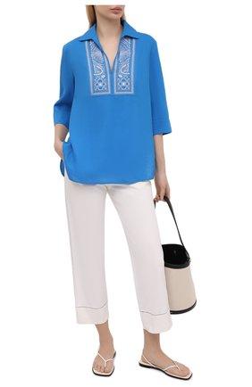 Женская льняная блузка LORO PIANA синего цвета, арт. FAL5867 | Фото 2