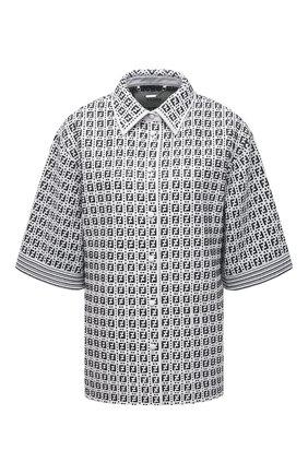 Женская кожаная рубашка FENDI черно-белого цвета, арт. FPT603 AF7N   Фото 1
