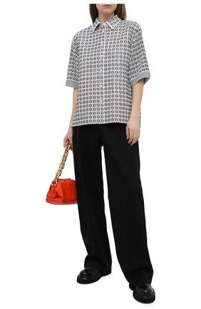Женская кожаная рубашка FENDI черно-белого цвета, арт. FPT603 AF7N   Фото 2