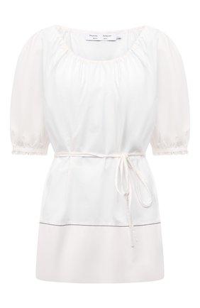 Женская хлопковая блузка PROENZA SCHOULER WHITE LABEL белого цвета, арт. WL2124233-SC054S | Фото 1 (Длина (для топов): Стандартные; Рукава: Короткие; Материал внешний: Хлопок; Стили: Романтичный; Принт: Без принта; Женское Кросс-КТ: Блуза-одежда)