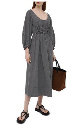 Женское хлопковое платье PROENZA SCHOULER WHITE LABEL черно-белого цвета, арт. WL2123164-AC117 | Фото 2