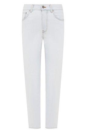 Женские джинсы SAINT LAURENT голубого цвета, арт. 648437/YS863   Фото 1 (Длина (брюки, джинсы): Стандартные; Материал внешний: Хлопок, Деним; Стили: Кэжуэл; Кросс-КТ: Деним; Силуэт Ж (брюки и джинсы): Прямые)