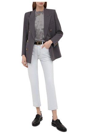 Женские джинсы SAINT LAURENT голубого цвета, арт. 648437/YS863   Фото 2 (Длина (брюки, джинсы): Стандартные; Материал внешний: Хлопок, Деним; Стили: Кэжуэл; Кросс-КТ: Деним; Силуэт Ж (брюки и джинсы): Прямые)