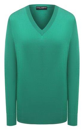 Женский шелковый пуловер DOLCE & GABBANA зеленого цвета, арт. FXC75T/JAS0P | Фото 1